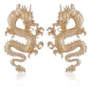 big gold dragon earring detail