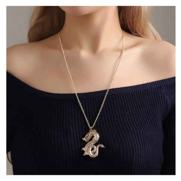 gold Reye Dragon Pendant Necklace