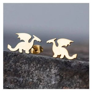 minimalist dragon earring gold