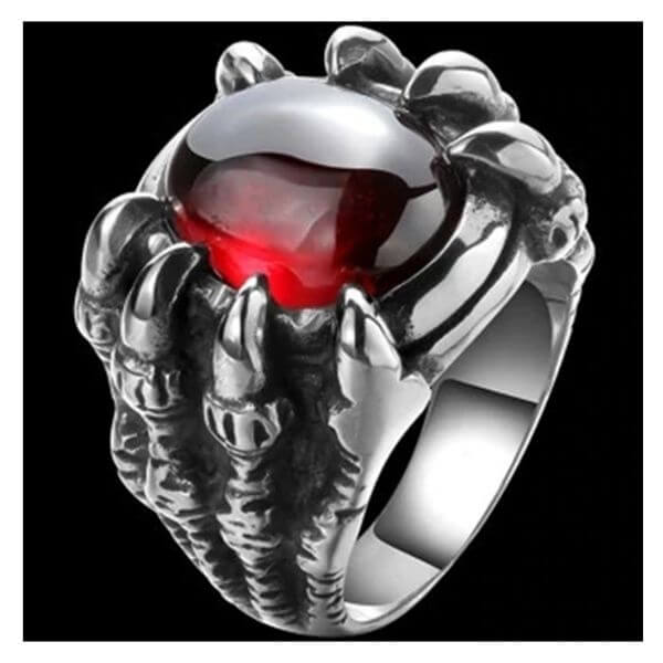 red Dragon Claw Stone Ring
